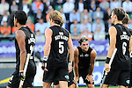 The Hague, Netherlands, June 10: Players of New Zealand huddle together prior to a penalty corner during the field hockey group match (Men - Group B) between New Zealand and The Netherlands on June 10, 2014 during the World Cup 2014 at Kyocera Stadium in The Hague, Netherlands. Final score 1-1 (0-1) (Photo by Dirk Markgraf / www.265-images.com) *** Local caption ***