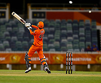 1st November 2019; Western Australia Cricket Association Ground, Perth, Western Australia, Australia; Womens Big Bash League Cricket, Perth Scorchers versus Melbourne Renegades; Amy Jones of the Perth Scorchers hits over the slips for a boundary - Editorial Use