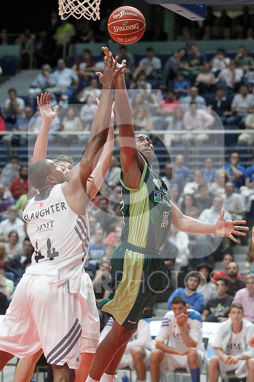 Real Madrid's Marcus Slaughter (l) and Unicaja's Jayson Granger during Liga Endesa ACB Semifinal match.June 6,2014. (ALTERPHOTOS/Acero)