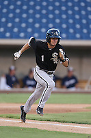 Eddy Alvarez #1 of the AZL White Sox runs to first base during a game against the AZL Brewers at the Maryvale Baseball Complex on July 11, 2014 in Phoenix, Arizona. AZL Brewers defeated the AZL White Sox, 6-4. (Larry Goren/Four Seam Images)