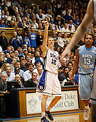 Kyle Singler watches another three point shot drop through the net during the last regular season game against UNC at Cameron Indoor Stadium, Sat., March 6, 2010. Single lead the Blue Devils with 25 points as they crushed UNC 82-50.