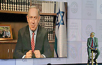 In remarks before the General Assembly of the Jewish Federations of North America at the Washington Hilton in Washington, D.C. on Tuesday, November 15, 2016, Israeli Prime Minister Benjamin Netanyahu said &quot;I look forward to working with President-elect Trump to further the twin interests of peace and security&quot; between the United States and Israel. Speaking of peace, the prime minster said &quot;the only way you get a workable and enduring peace is to have the parties agree to it.&quot; <br /> Credit: Ron Sachs / CNP /MediaPunch