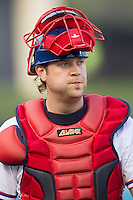 Round Rock Express catcher Chris Snyder #10 before the Pacific Coast League baseball game against the Oklahoma City Redhawks on April 3, 2014 at the Dell Diamond in Round Rock, Texas. The Redhawks defeated the Express 7-6 in the season opener for both teams. (Andrew Woolley/Four Seam Images)