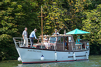 """Henley on Thames, United Kingdom, 3rd July 2018, Saturday,  """"Henley Royal Regatta"""",  Spectators watch, the, Rowing, from on Deck, Henley Reach, River Thames, Thames Valley, England, UK."""