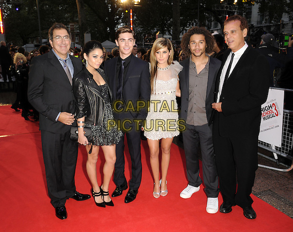 "VANESSA HUDGENS, ZAC EFRON, ASHLEY TISDALE & CORBIN BLEU .Attending the UK Film Premiere of ""High School Musical 3: Senior Year"" at the Empire Leicester Square in London, England, UK, October 7th 2008..full length black leather biker jacket cast couple silver suit tie dress white print grey gray sheer trainers open toe peep toe shoes mary janes .CAP/FIN.©Steve Finn/Capital Pictures"