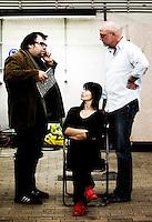 Founding actors Stef Lernous, Tine Van den Wyngaert and Chiel van Berkel of the theatre company Abattoir Fermé, celebrating their 10th anniversary in Mechelen (Belgium, 07/10/2009)