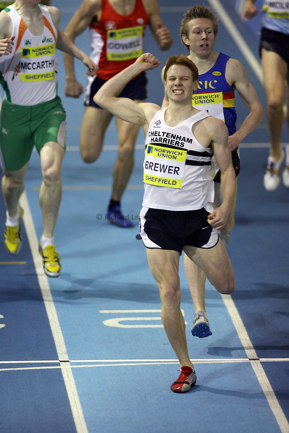Photo: Rich Eaton...Norwich Union European Indoor Trials and UK Championships, Sheffield. 11/02/2007. James Brewer of Cheltenham Harriers wins the 800 metres final..