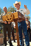 """AJ Alexander - Pinal County Sheriff Paul Babeu and Cochise County Sheriff Larry A. Dever joined other County Sheriffs at the Arizona State Capitol for a press conference. The sheriffs said they want Attorney General Eric Holder to be held accountable for the lost law enforcement lives in Arizona and Mexico. They demanded the truth from the federal government about operation """"Fast and Furious."""" on Friday October 7, 2011 in the morning in Phoenix, AZ..Photo by AJ Alexander..."""