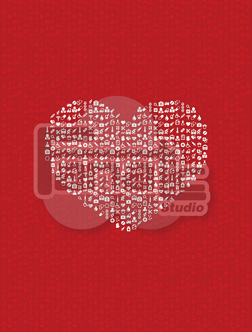 Illustration of heart made of medical equipment on red background