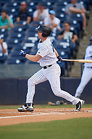 Tampa Tarpons designated hitter Adam Lind (23) follows through on a swing during a game against the Fort Myers Miracle on May 2, 2018 at George M. Steinbrenner Field in Tampa, Florida.  Fort Myers defeated Tampa 5-0.  (Mike Janes/Four Seam Images)