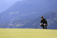 Fabrizio Zanotti (AUS) lines up his putt on the 7th green during Sunday's Final Round of the 2017 Omega European Masters held at Golf Club Crans-Sur-Sierre, Crans Montana, Switzerland. 10th September 2017.<br /> Picture: Eoin Clarke | Golffile<br /> <br /> <br /> All photos usage must carry mandatory copyright credit (&copy; Golffile | Eoin Clarke)