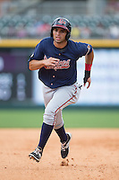 Jose Peraza (1) of the Gwinnett Braves hustles towards third base against the Charlotte Knights at BB&T BallPark on July 3, 2015 in Charlotte, North Carolina.  The Braves defeated the Knights 11-4 in game one of a day-night double header.  (Brian Westerholt/Four Seam Images)