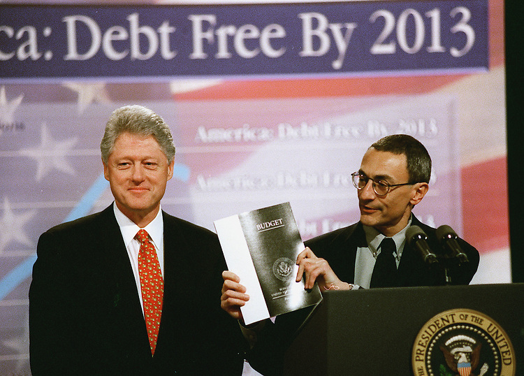 2/7/00.BUDGET -- President Bill Clinton and Deputy Chief of Staff John D. Podesta, during the announcement of the budget at the White House..CONGRESSIONAL QUARTERLY PHOTO BY DOUGLAS GRAHAM..