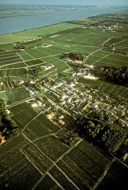 Aerial of Bordeaux region of France.  Town of St. Julien in center of photo