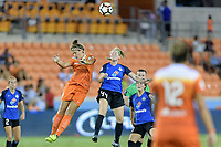 Houston, TX - Sunday August 13, 2017: Sarah Hagen and Maegan Kelly during a regular season National Women's Soccer League (NWSL) match between the Houston Dash and FC Kansas City at BBVA Compass Stadium.