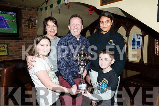 St Patrick's Day Parade prizes presentation at the Abbey Inn on Monday Bryan Carr School of Performing Arts won most Colorful for their  Beauty and the Beast Parade Float. Pictured Holly MacEntee, Aida MacEntee, Rory MacEntee, Bryan Carr and Ciara Sammy
