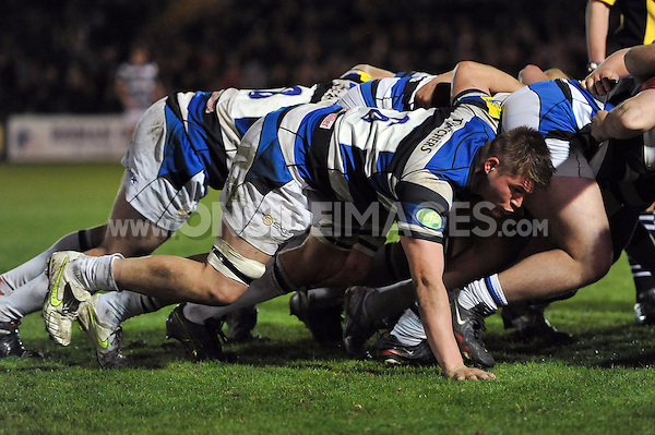 Freddie Clarke in action at a scrum. End-of-season friendly match, between Bath United and Somerset County Senior XV on April 14, 2014 at the Recreation Ground in Bath, England. Photo by: Patrick Khachfe / Onside Images