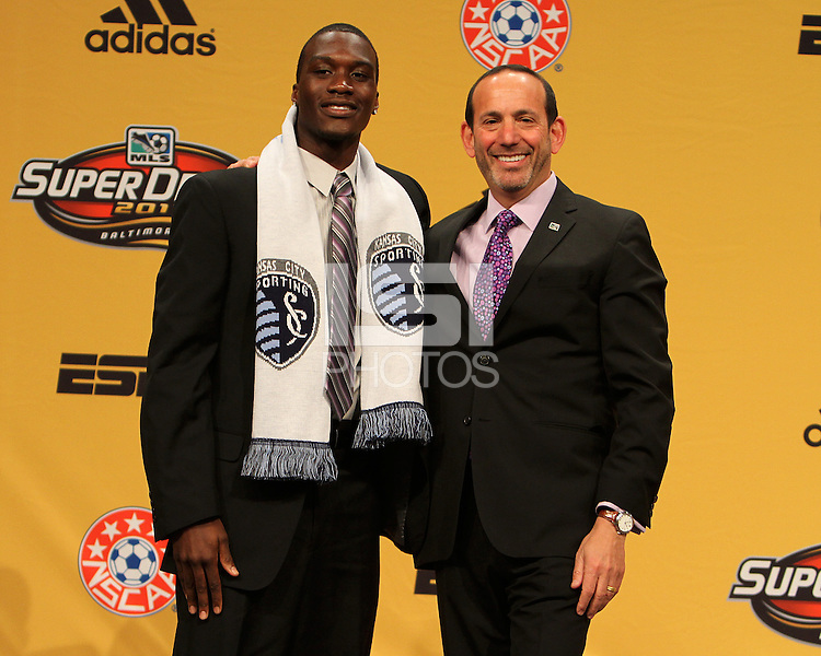 C.J. Sapong with commissioner Don Garber at the 2011 MLS Superdraft, in Baltimore, Maryland on January 13, 2010.