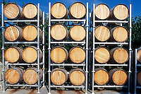 Wine Barrels at the Winery in the South Okanagan Valley B.C. Canada.June 2011