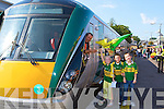 Train driver Joe McNamara pulls off with the Kerry team on board with Anthony O'Shea, Caoimhe Evans and Darragh O'Brien Keel cheering them on last Saturday   Copyright Kerry's Eye 2008