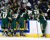 Jack Downing (Vermont - 21), Matt Marshall (Vermont - 17), Josh Burrows (Vermont - 22), Willie Mitchell (Vermont - Assistant Coach), Corey Carlson (Vermont - 13), Kevin Sneddon (Vermont- Head Coach), Patrick Cullity (Vermont - 4), Vermont?, Viktor Stalberg (Vermont - 18), Peter Lenes (Vermont - 3), John Micheletto (Vermont - Associate Head Coach) - The University of Vermont Catamounts defeated the Yale University Bulldogs 4-1 in their NCAA East Regional Semi-Final match on Friday, March 27, 2009, at the Bridgeport Arena at Harbor Yard in Bridgeport, Connecticut.