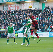 4th November 2017, Easter Road, Edinburgh, Scotland; Scottish Premiership football, Hibernian versus Dundee; Dundee's Marcus Haber competes in the air with Hibernian's Paul Hanlon