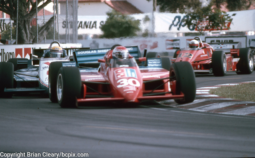 #30 Lola T900 Cosworth, Al Unser Jr., 3rd place, Beatrice Indy Challenge, Tamiami Park, Miami, FL, November 9, 1985.  (Photo by Brian Cleary/www.bcpix.com)
