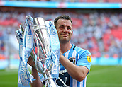 28th May 2018, Wembley Stadium, London, England;  EFL League 2 football, playoff final, Coventry City versus Exeter City; Michael Doyle of Coventry City poses with the EFL League 2 playoff trophy