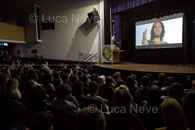 """London, 28/04/2015. Today, OccupyLSE (London School of Economics and Political Studies) - Free University of London presented the film screening of """"The Emperor's New Clothes"""" and the Q&A with Russell Brand (Actor and author of the movie with Michael Winterbottom)."""