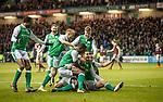 9.3.2018: Hibs v Hearts:<br /> Jamie Maclaren celebrates his goal