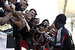 14 November 2004: DC's fans serenade Freddy Adu (right) after the game. DC United defeated the Kansas City Wizards 3-2 to win MLS Cup 2004, Major League Soccer's championship game at the Home Depot Center in Carson, CA..
