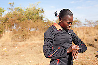 Kenyan woman marathon runner Florence Kiplagat outside of Eldoret, Kenya.