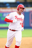 Reading Phillies first baseman Matt Rizzotti #40 rounds the bases after hitting a home run during a game against the New Hampshire Fisher Cats at FirstEnergy Stadium on May 5, 2011 in Reading, Pennsylvania.  New Hampshire defeated Reading by the score of 10-5.  Photo By Mike Janes/Four Seam Images