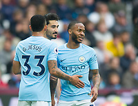 Manchester City Ilkay Gundogan  and Manchester City Raheem Sterling  celebrating second goal during the EPL - Premier League match between West Ham United and Manchester City at the Olympic Park, London, England on 29 April 2018. Photo by Andrew Aleksiejczuk / PRiME Media Images.
