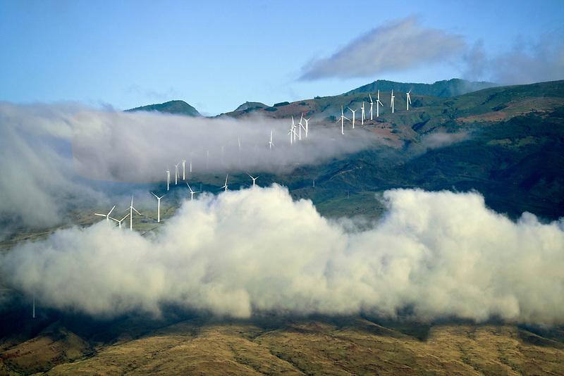 Wind turbines. Maui, Hawaii