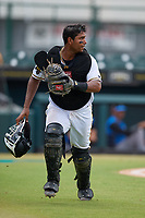 Bradenton Marauders catcher Raul Hernandez (29) backs up the play during a Florida State League game against the Tampa Tarpons on May 26, 2019 at LECOM Park in Bradenton, Florida.  Bradenton defeated Tampa 3-1.  (Mike Janes/Four Seam Images)