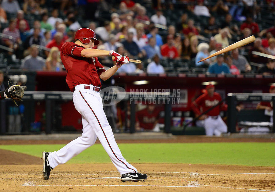 Aug. 29, 2012; Phoenix, AZ, USA: Arizona Diamondbacks pitcher Patrick Corbin breaks his bat as he grounds out in the fourth inning against the Cincinnati Reds at Chase Field. Mandatory Credit: Mark J. Rebilas-