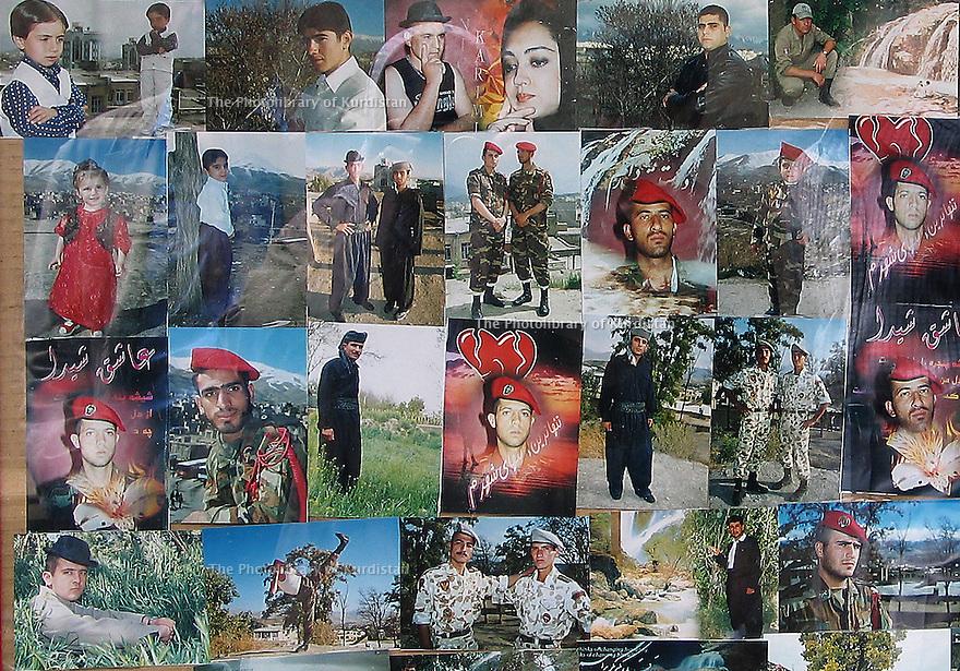 Iran 2004  In Sanandaj, a garrison town,a photographer exhibiting  numerous photos of Iranian soldiers amidst portraits of Kurds.  <br /> Iran 2004 A Sanandaj, ville de garnison, un photographe exposant des photos de soldats iraniens parmi des portraits de Kurdes<br /> ئیران 2004 , سنه ,له ده وروبه ری سه ربازخانه, وینه گه ریک ره سمی سه ربازانی ئیرانی له نیو پورتره ی کوردان نیشان ده دات