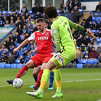 Fleetwood Town's Ashley Eastham scores his sides second goal <br /> <br /> Photographer David Shipman/CameraSport<br /> <br /> The EFL Sky Bet League One - Peterborough United v Fleetwood Town - Friday 14th April 2016 - ABAX Stadium  - Peterborough<br /> <br /> World Copyright &copy; 2017 CameraSport. All rights reserved. 43 Linden Ave. Countesthorpe. Leicester. England. LE8 5PG - Tel: +44 (0) 116 277 4147 - admin@camerasport.com - www.camerasport.com