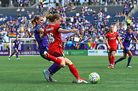 Orlando, FL - Sunday June 26, 2016: Dani Weatherholt, Emily Sonnett  during a regular season National Women's Soccer League (NWSL) match between the Orlando Pride and the Portland Thorns FC at Camping World Stadium.