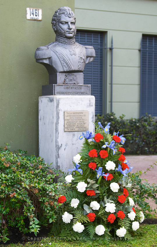 Statue bust in front of a military building close to Carlos Morales Street depicting liberator Bernardo O'Higgins Riquelme, 1778-1842, independent leader and first head of state of Chile Montevideo, Uruguay, South America