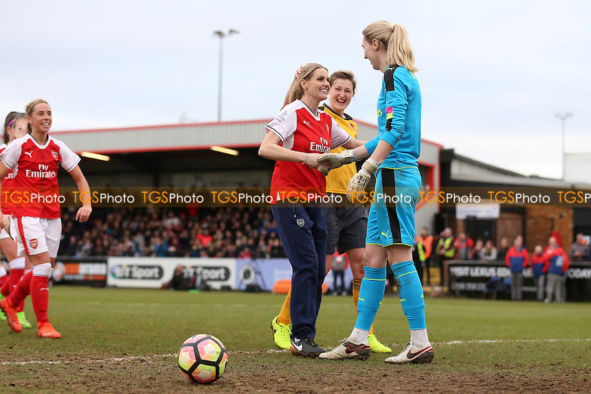 Kelly Smith celebrates scoring the second goal for the All Star team from the penalty spot during Arsenal Ladies vs Kelly Smith's All Star XI, Kelly Smith's Celebration Match Football at Meadow Park on 19th February 2017