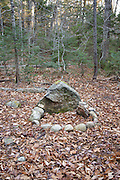 Fire ring along the Hancock Notch Trail in the White Mountains, New Hampshire USA.