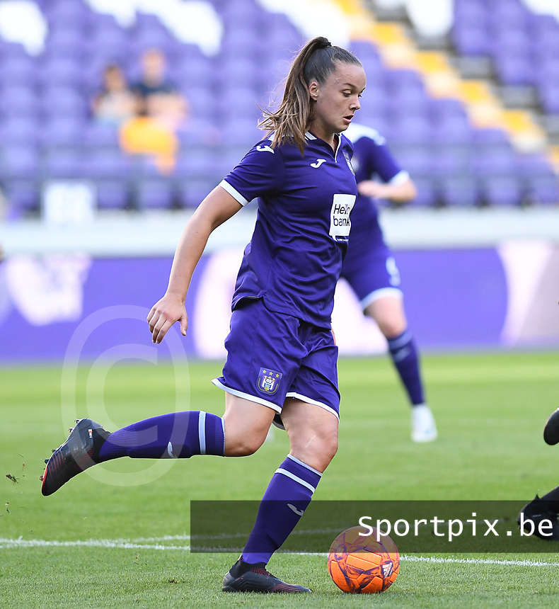 20190807 - ANDERLECHT, BELGIUM : Anderlecht's Tine De Caigny pictured during the female soccer game between the Belgian RSCA Ladies – Royal Sporting Club Anderlecht Dames  and the Greek FC PAOK Thessaloniki ladies , the first game for both teams in the Uefa Womens Champions League Qualifying round in group 8 , Wednesday 7 th August 2019 at the Lotto Park Stadium in Anderlecht  , Belgium  .  PHOTO SPORTPIX.BE   DAVID CATRY