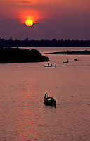 Sunset over the Mekong River, view from the bank of the Mekong River in Phnom Penh,Cambodia