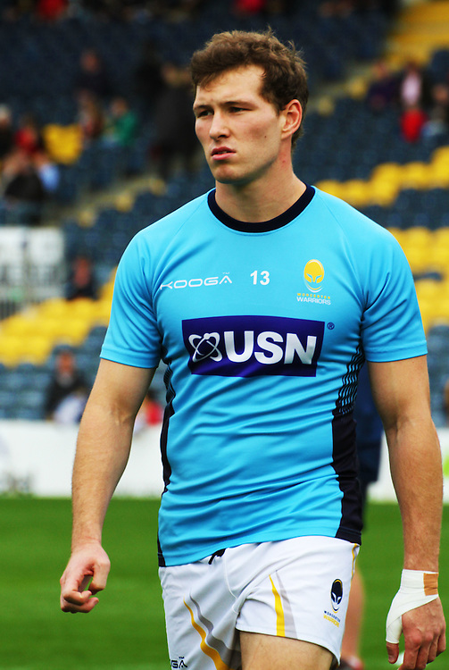 Warriors Max Stelling striding off the field after pre-match warm up<br /> <br /> Photographer Rachel Holborn/CameraSport<br /> <br /> Rugby Union - British and Irish Cup - Worcester Warriors v Munster A - Saturday 18th October 2014 - Sixways Stadium - Warriors Way - Worcester<br /> <br /> &copy; CameraSport - 43 Linden Ave. Countesthorpe. Leicester. England. LE8 5PG - Tel: +44 (0) 116 277 4147 - admin@camerasport.com - www.camerasport.com