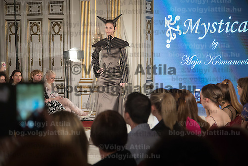 Model presents a creation by brand Mystical creations of designer Maja Krsmanovic of Serbia during the Budapest Fashion Week held in Budapest, Hungary on April 22, 2018. ATTILA VOLGYI