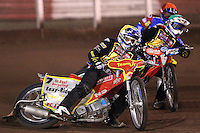 Heat 2: Ben Barker (yellow), Filip Sitera (green) and Ricky Kling (red) - Lakeside Hammers vs Coventry Bees - Craven Shield Final 1st Leg at The Arena Essex Raceway, Lakeside - 16/10/08 - MANDATORY CREDIT: Rob Newell/TGSPHOTO