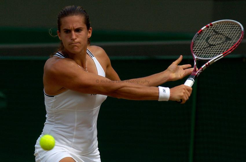 Photo: Richard Lane..Wimbledon Championships. 04/07/2006. .Amelie Mauresmo of France returns.