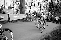 Jack Bauer (NZL/Garmin-Sharp) on the Kemmelberg descent<br /> <br /> Gent-Wevelgem 2014